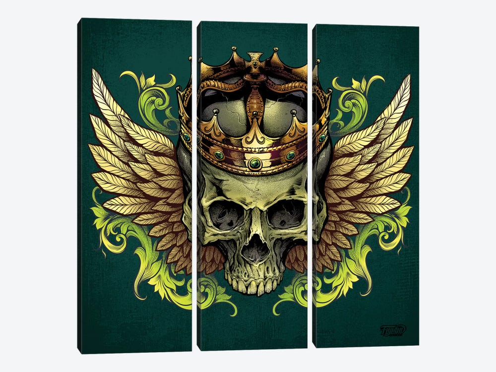 Skull With Crown and Wings by Flyland Designs 3-piece Canvas Print