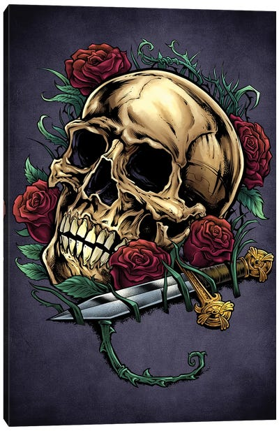 Skull, Roses, and Dagger Canvas Art Print