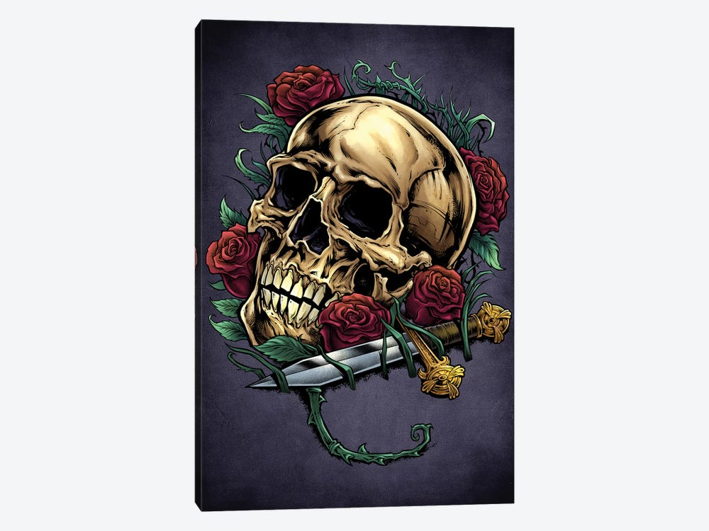 Skull, Roses, and Dagger by Flyland Designs 1-piece Canvas Wall Art