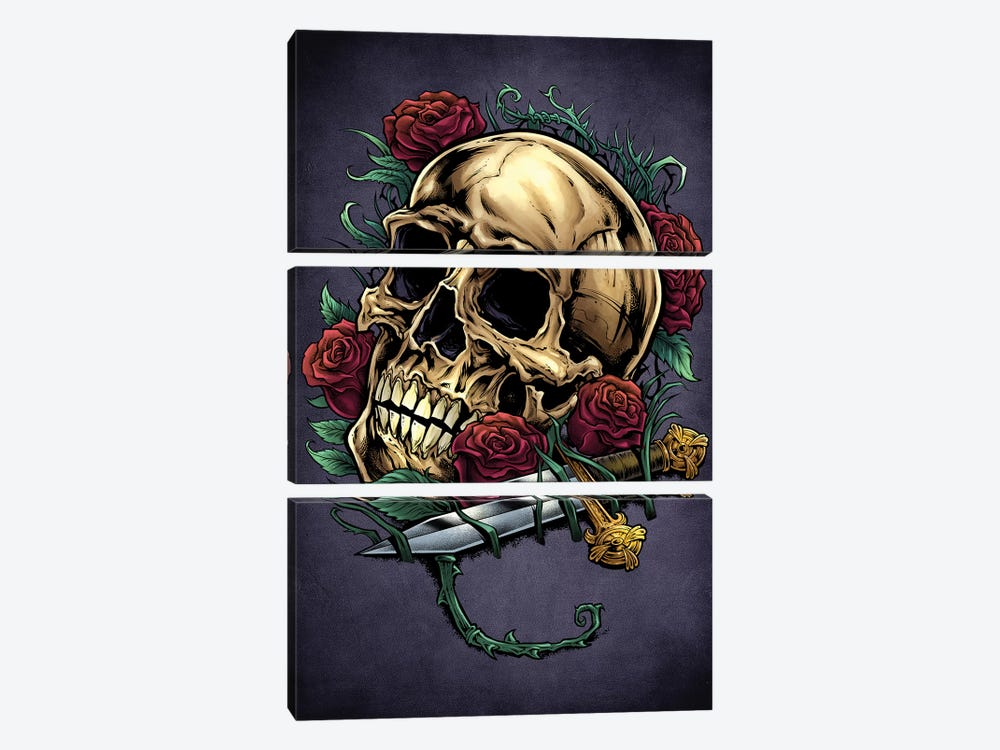 Skull, Roses, and Dagger by Flyland Designs 3-piece Canvas Wall Art