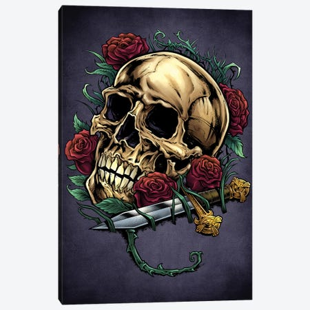 Skull, Roses, and Dagger Canvas Print #FYD46} by Flyland Designs Canvas Art Print