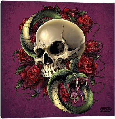 Snake Skull and Roses Canvas Art Print