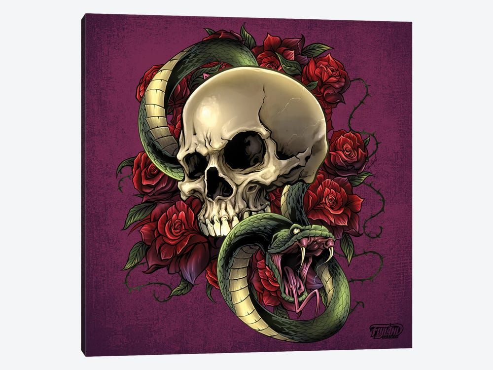 Snake Skull and Roses by Flyland Designs 1-piece Canvas Print