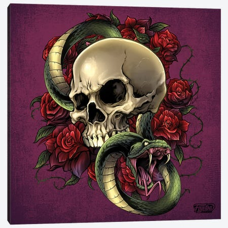 Snake Skull and Roses Canvas Print #FYD47} by Flyland Designs Canvas Print
