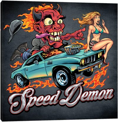 Speed Demon, Flaming Hot Rod Canvas Art Print
