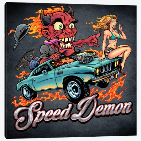 Speed Demon, Flaming Hot Rod Canvas Print #FYD48} by Flyland Designs Canvas Wall Art