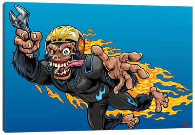 Stuntman, Monkey Racer Canvas Art Print