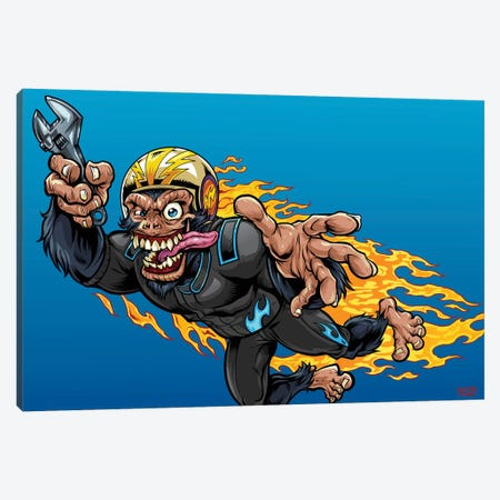 Stuntman, Monkey Racer Canvas Print #FYD49} by Flyland Designs Canvas Artwork