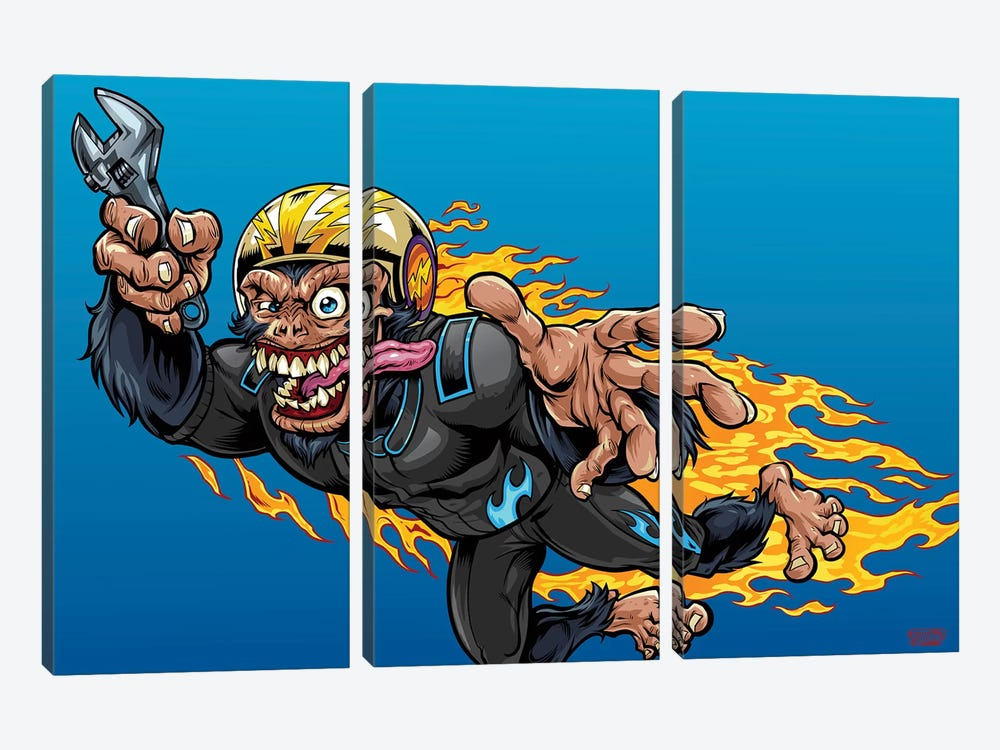Stuntman, Monkey Racer by Flyland Designs 3-piece Art Print