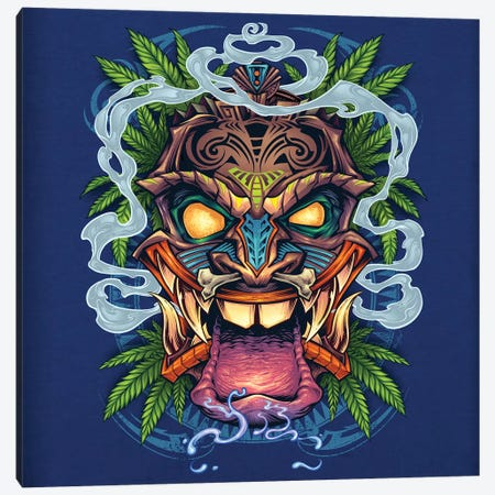 Tiki Head Canvas Print #FYD52} by Flyland Designs Art Print