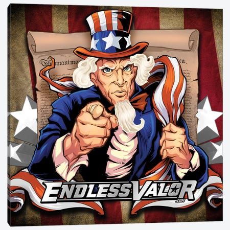 Uncle Sam Patriot Character Canvas Print #FYD57} by Flyland Designs Canvas Artwork