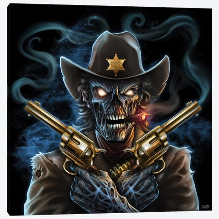 Undead Gunslinger Canvas Print #FYD58} by Flyland Designs Canvas Art Print