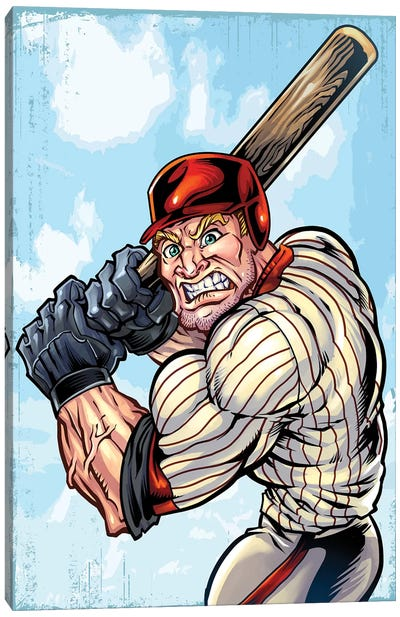 Baseball Player Mascot Canvas Art Print