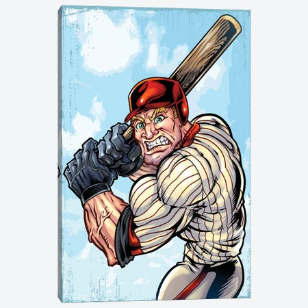 Baseball Player Mascot Canvas Print #FYD5} by Flyland Designs Canvas Print