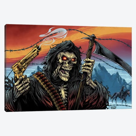 Western Grim Reaper Canvas Print #FYD60} by Flyland Designs Canvas Wall Art