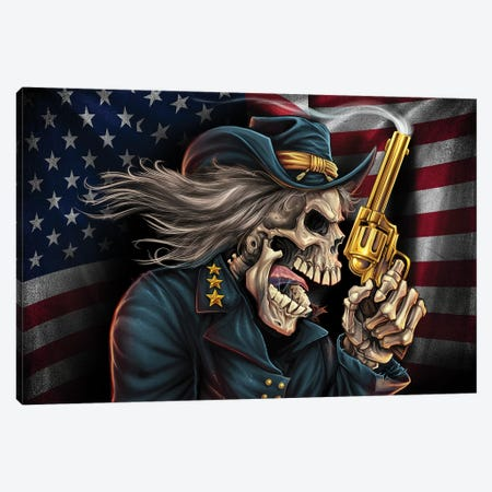 Yankee Pride Civil War Skull General Canvas Print #FYD61} by Flyland Designs Canvas Wall Art