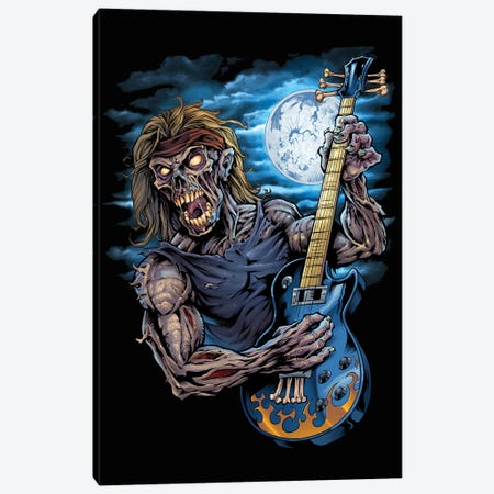 Zombie Guitar Player Canvas Print #FYD62} by Flyland Designs Canvas Wall Art