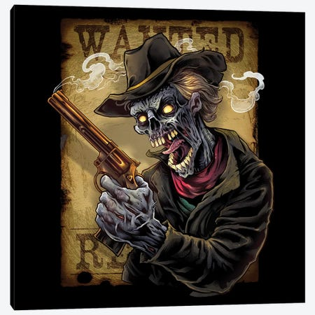 Zombie Outlaw With Revolver Canvas Print #FYD64} by Flyland Designs Art Print