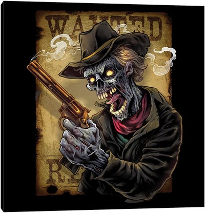 Zombie Outlaw With Revolver Canvas Art Print