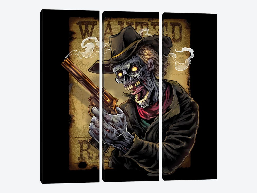 Zombie Outlaw With Revolver by Flyland Designs 3-piece Canvas Artwork