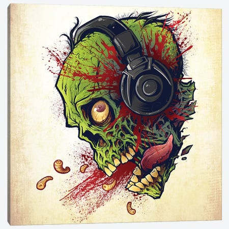 Zombie With Headphones Canvas Print #FYD66} by Flyland Designs Canvas Print