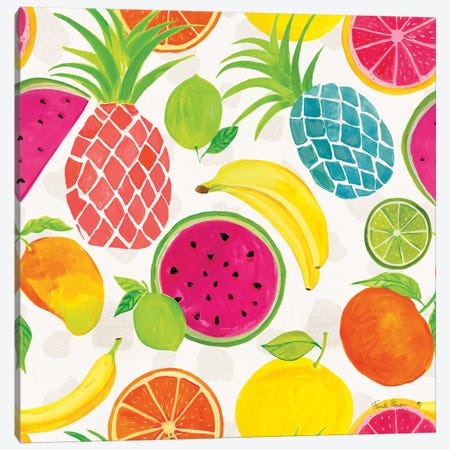Tutti Frutti Pattern IIIA Canvas Print #FZA113} by Farida Zaman Canvas Artwork