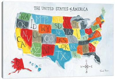 US Map Canvas Art Print
