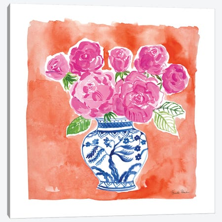 Chinoiserie Roses I Canvas Print #FZA153} by Farida Zaman Canvas Art
