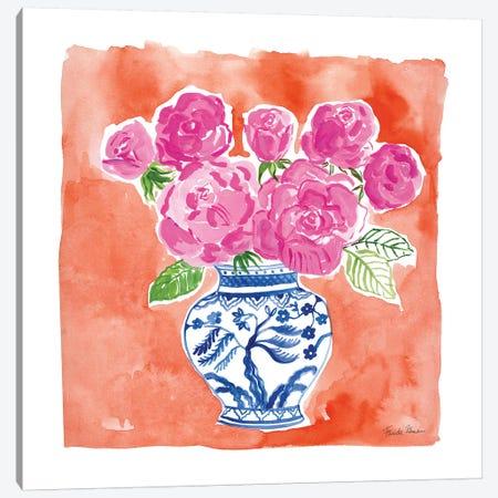 Chinoiserie Roses I Canvas Print #FZA153} by Farida Zaman Canvas Art