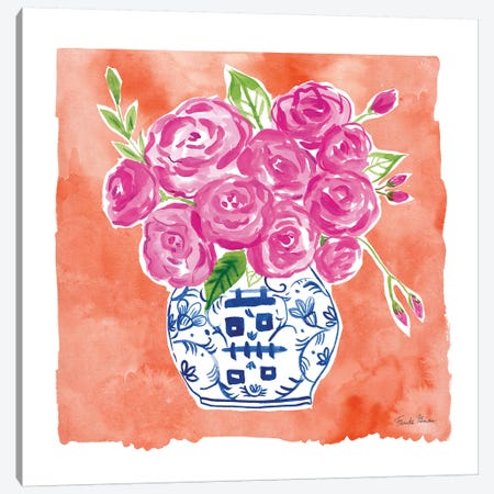 Chinoiserie Roses II 3-Piece Canvas #FZA154} by Farida Zaman Canvas Print