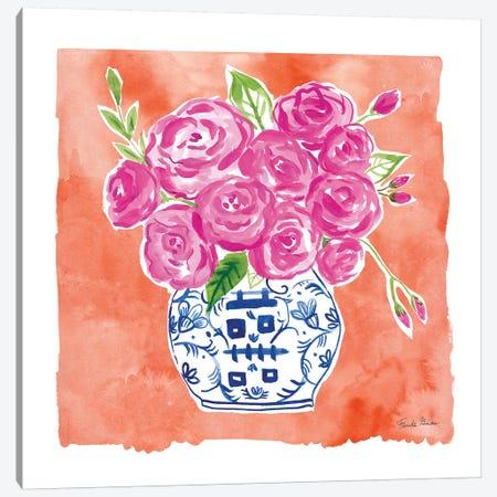 Chinoiserie Roses II Canvas Print #FZA154} by Farida Zaman Canvas Print