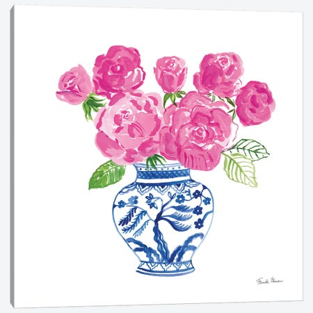 Chinoiserie Roses on White I 3-Piece Canvas #FZA155} by Farida Zaman Canvas Art Print