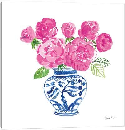 Chinoiserie Roses on White I Canvas Art Print