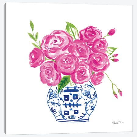 Chinoiserie Roses on White II 3-Piece Canvas #FZA156} by Farida Zaman Art Print