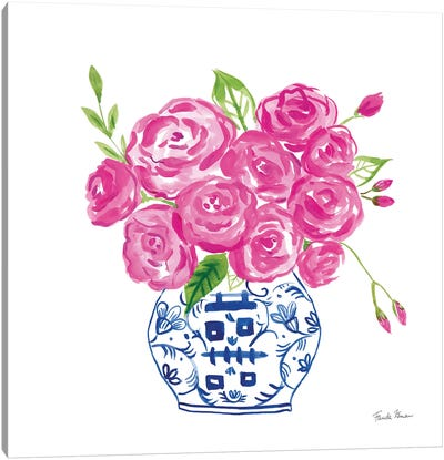 Chinoiserie Roses on White II Canvas Art Print
