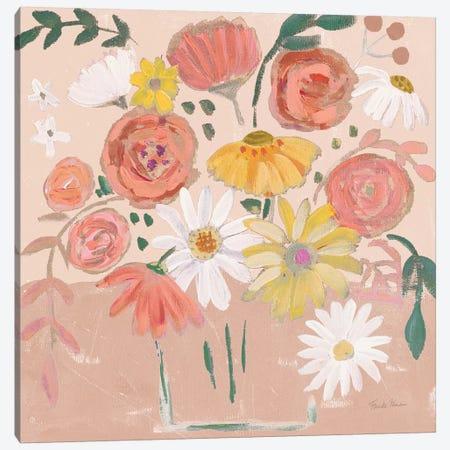 Folk Floral II Modern Canvas Print #FZA160} by Farida Zaman Art Print