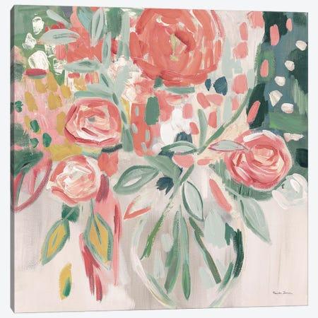 Summer Pink Floral Modern Canvas Print #FZA165} by Farida Zaman Canvas Wall Art