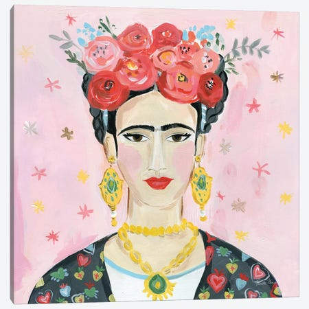 Homage to Frida Shoulders Canvas Print #FZA174} by Farida Zaman Canvas Art Print
