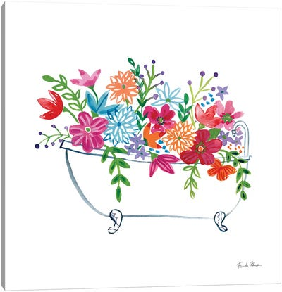 Floral Bathroom I  Canvas Art Print