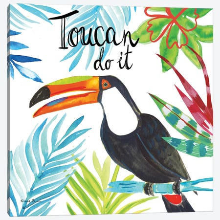 Tropicana II Toucan Canvas Print #FZA198} by Farida Zaman Canvas Wall Art