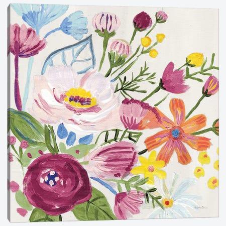 Vintage Floral II v2 Crop Canvas Print #FZA199} by Farida Zaman Canvas Wall Art