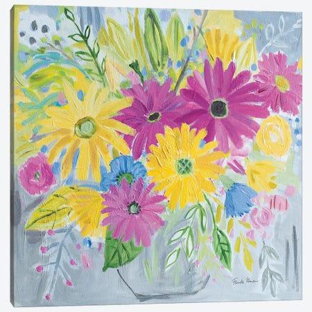 Happy Flowers Canvas Print #FZA209} by Farida Zaman Canvas Wall Art