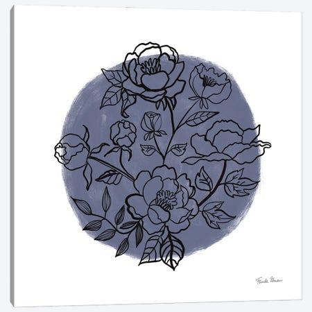 Black And White Botanical I Navy Canvas Print #FZA235} by Farida Zaman Canvas Wall Art