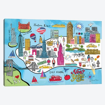 New York Map Canvas Print #FZA243} by Farida Zaman Canvas Artwork