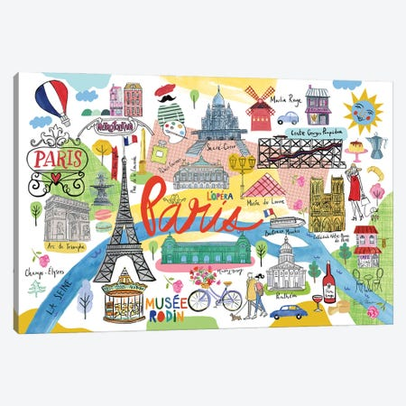 Paris Map Canvas Print #FZA244} by Farida Zaman Art Print