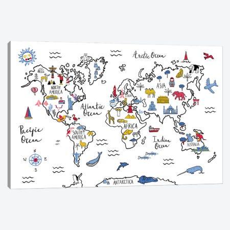 World Map Canvas Print #FZA245} by Farida Zaman Canvas Print