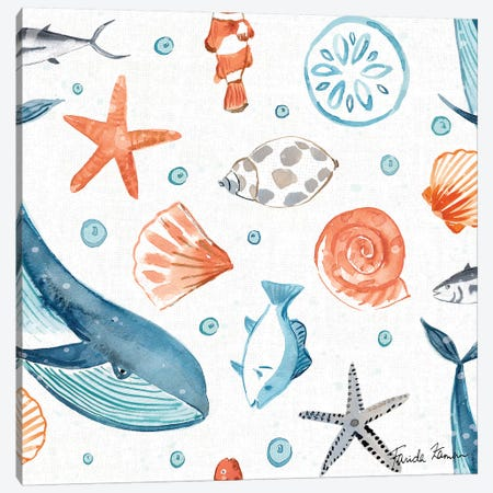 Whale Tale Pattern IA Canvas Print #FZA48} by Farida Zaman Canvas Art Print