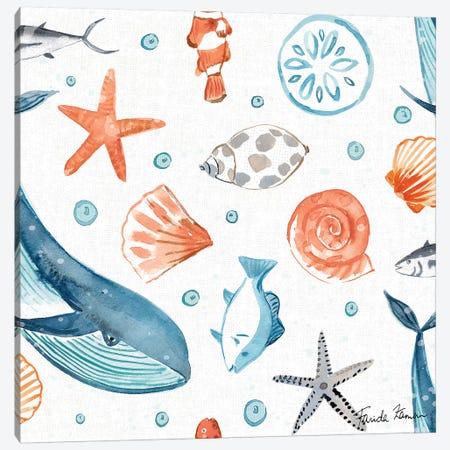 Whale Tale Pattern IA Canvas Print #FZA48} by Farida Zaman Canvas Art Print