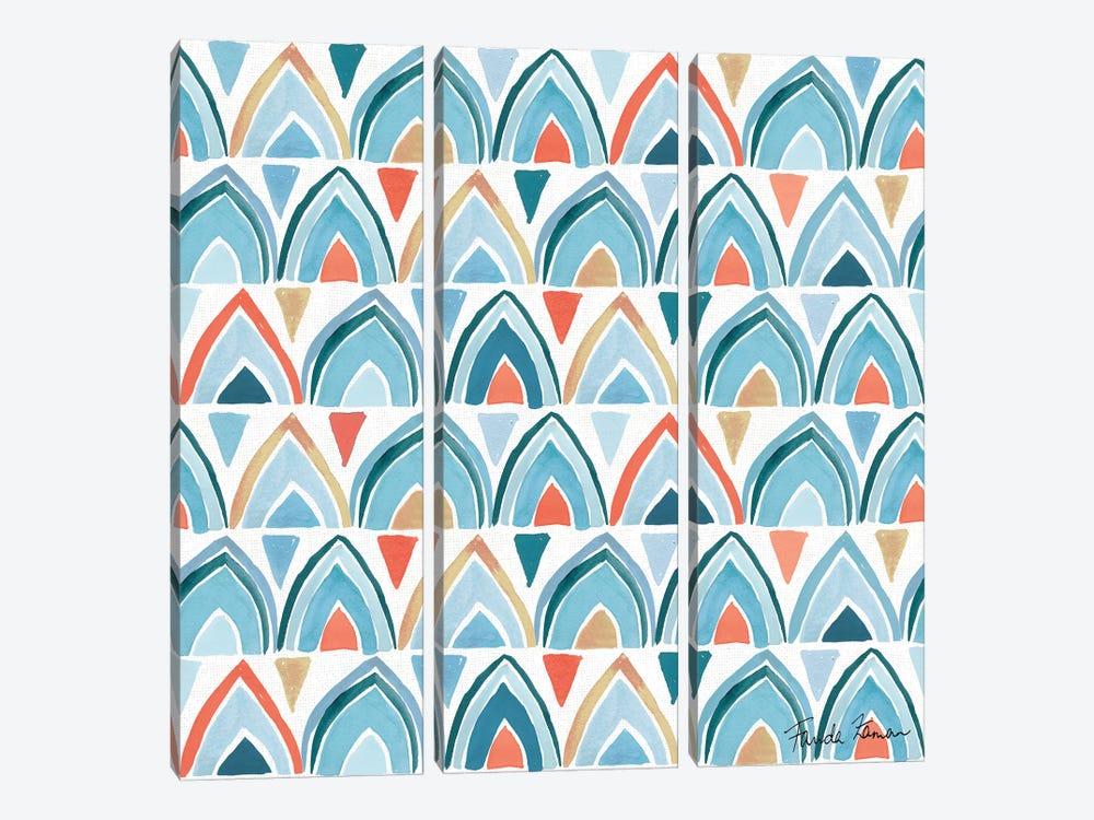 Whale Tale Pattern IV by Farida Zaman 3-piece Canvas Art Print