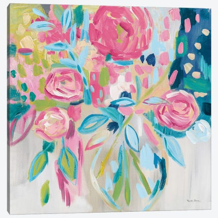 Summer Pink Floral Canvas Print #FZA5} by Farida Zaman Canvas Print